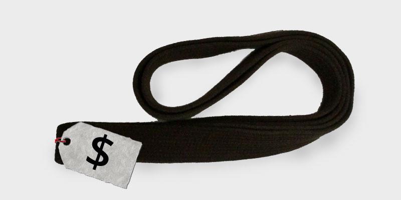 Taekwon-Do belt with pricetag