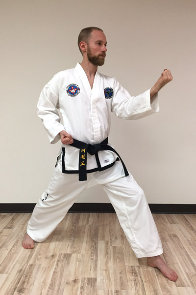 Taekwon-Do inner forearm middle block from angle