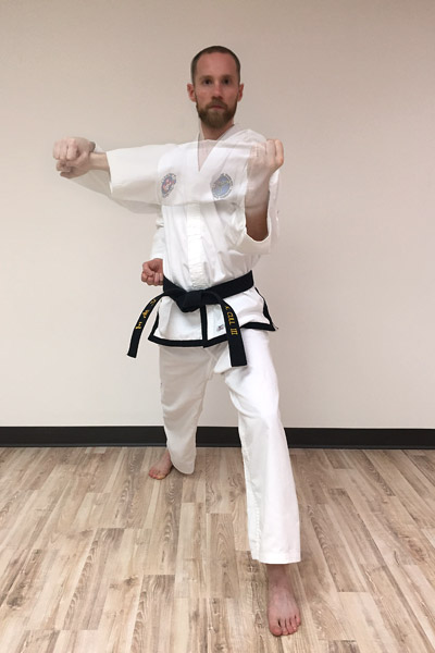 Taekwon-Do inner forearm block preparation and finish overlay