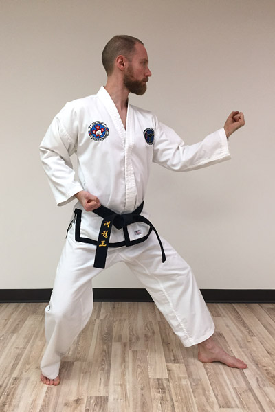 Taekwon-Do inner forearm block in L-stance