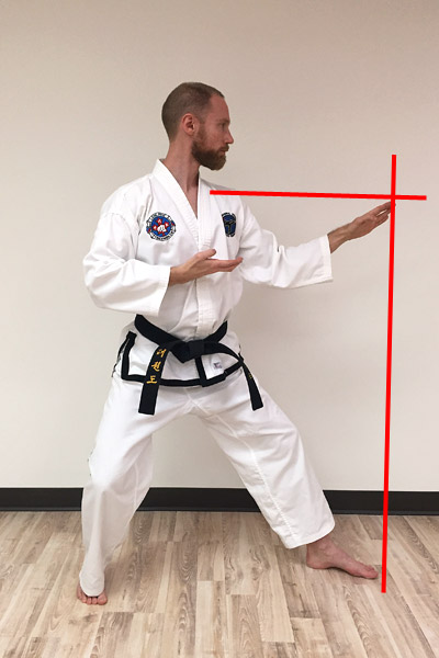 Taekwon-do middle guarding blocks - alignment.