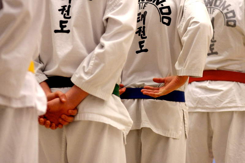 A line of taekwon-do students