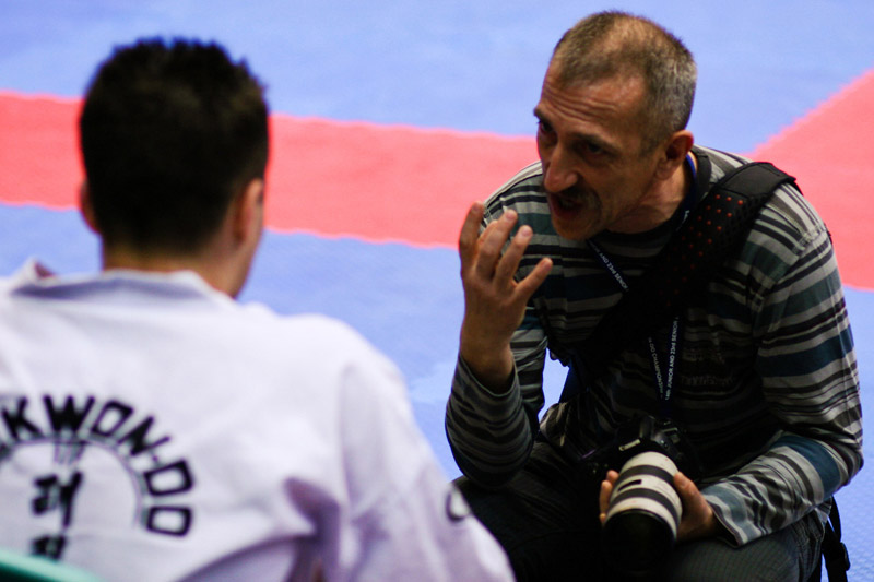 Taekwon-do Master Jerzy Jedut giving pointers to Daniel Dziala