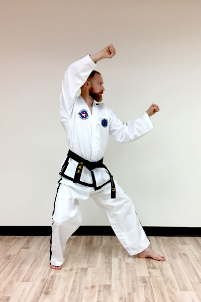 A taekwon-do twin forearm block