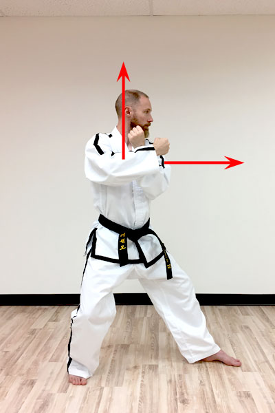 The movement for the twin forearm block in taekwon-do