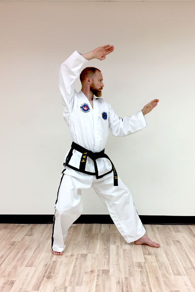 A taekwon-do twin knife-hand block