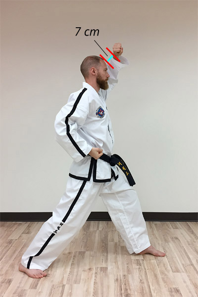 A side view of a forearm rising block in taekwon-do